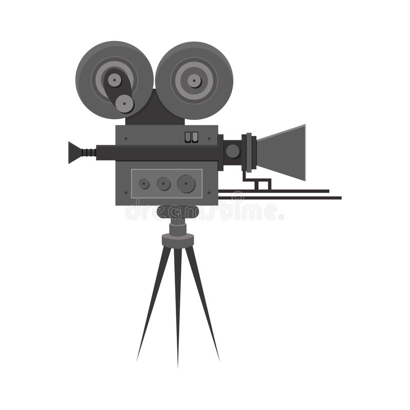 Плоско детальная профессиональная ретро камера фильма кино бесплатная иллюстрация
