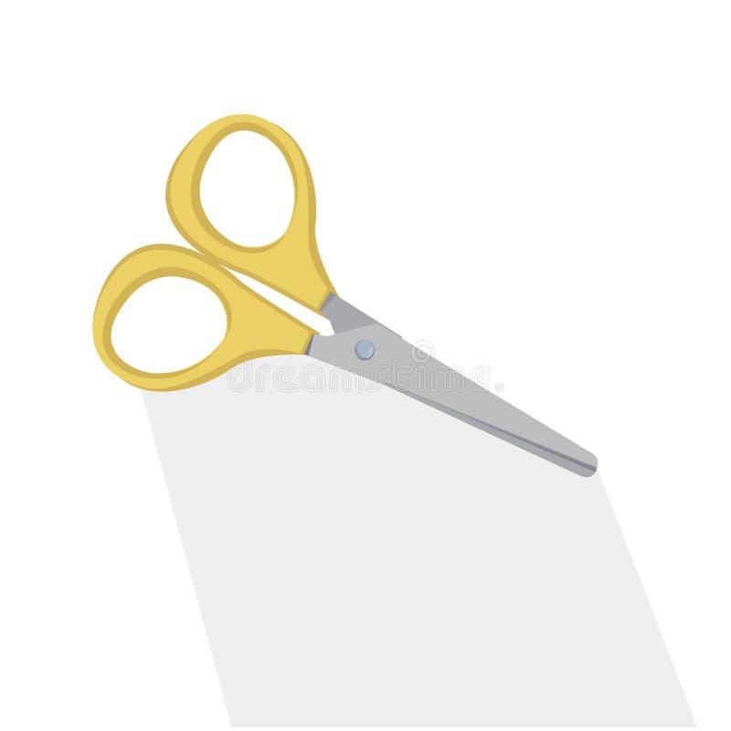 Плоско желтый цвет scissor и длинная тень иллюстрация штока