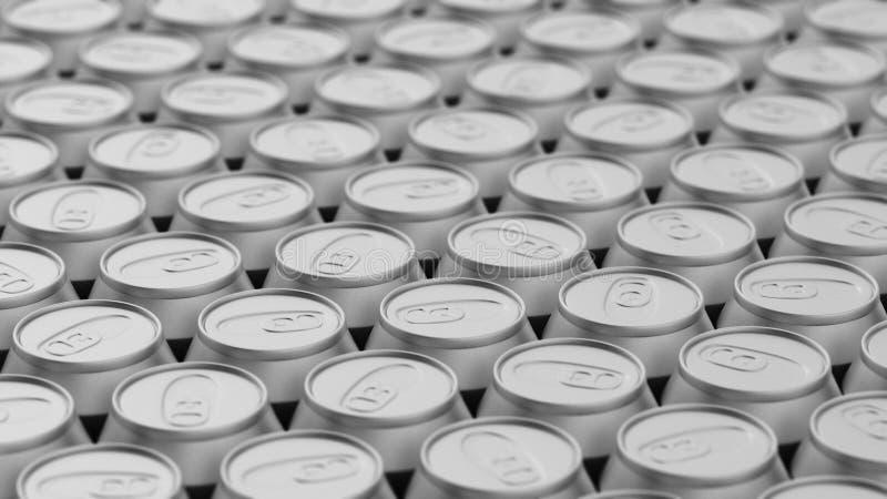 Плотно упакованный массив алюминиевых чонсервных банк иллюстрация штока