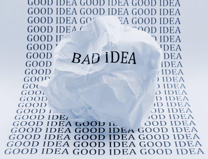 Плохая идея - хорошая идея стоковое изображение rf