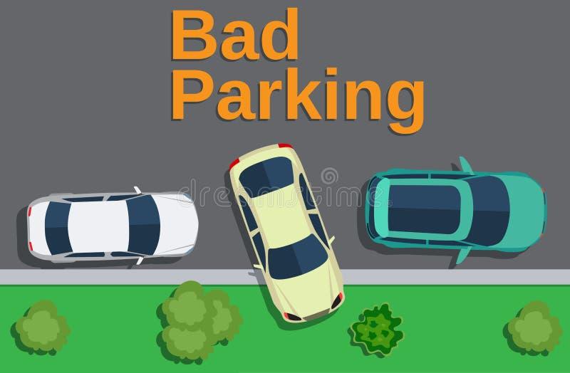 плохая стоянка автомобилей Взгляд сверху автомобиля припарковало на лужайке бесплатная иллюстрация