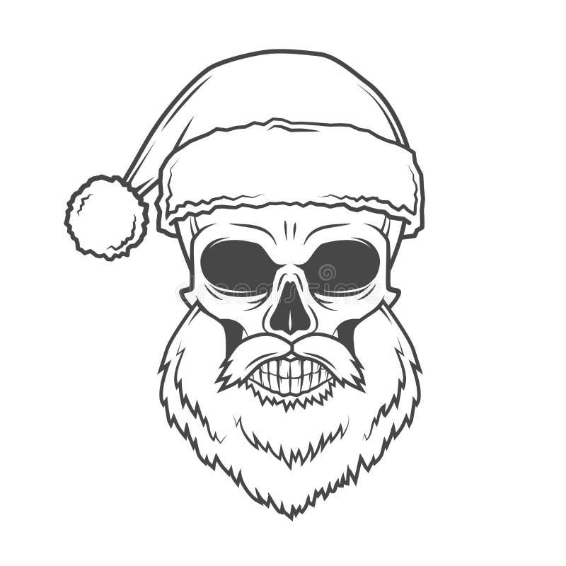 Плохой плакат велосипедиста Санта Клауса тяжелый метал иллюстрация вектора