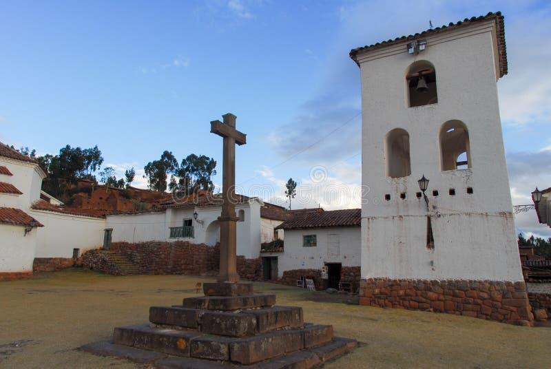 Площадь городка, Chinchero, Перу стоковые изображения rf