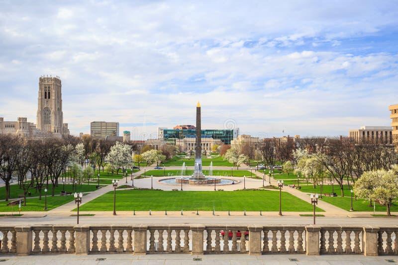 Площадь мемориала ветеранов Индианы стоковые фотографии rf