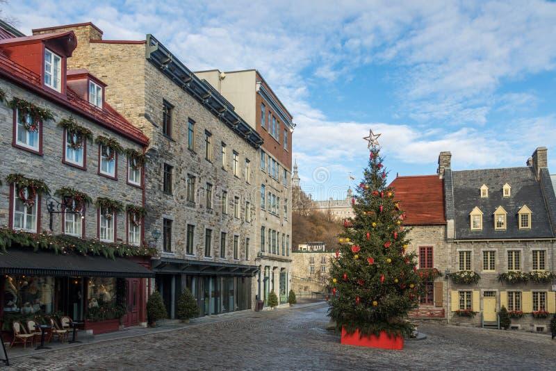 Площадь украшенная для рождества - Квебек (город) Пляс Руаяль королевская, Квебек, Канада стоковое фото