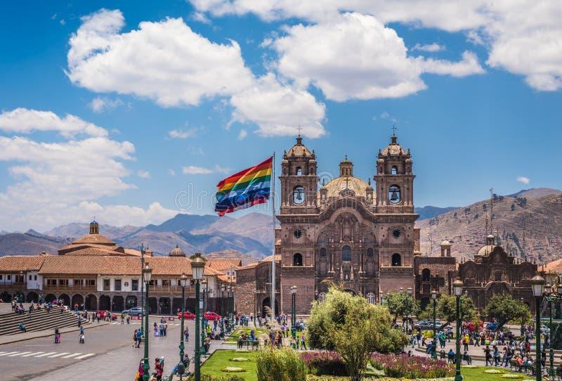 Площадь de Armas в историческом центре Cusco, Перу стоковое фото rf