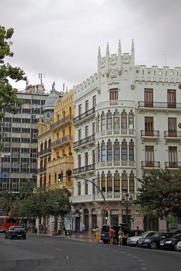 Площадь del Ayuntamiento - главная площадь Валенсии, Испания стоковое фото
