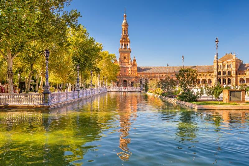 площадь seville de espana стоковые изображения