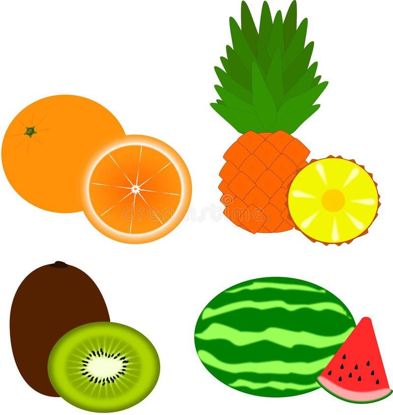 Плодоовощи - апельсин, ананас, киви, арбуз стоковое фото rf