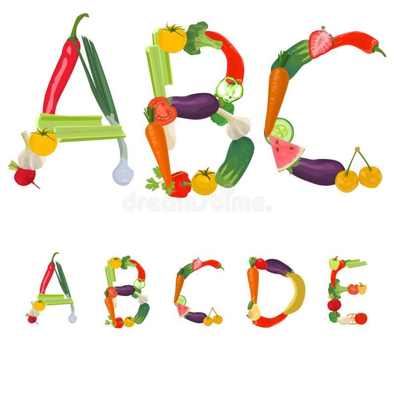 плодоовощи алфавита сделали овощи бесплатная иллюстрация