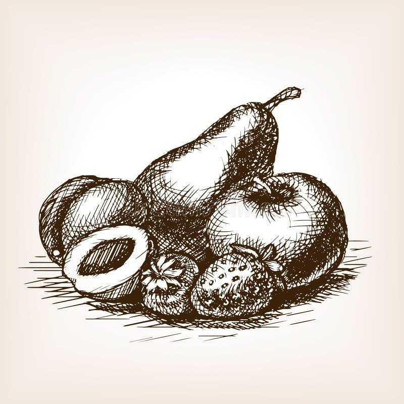 Плодоовощи вручают вычерченный вектор стиля эскиза иллюстрация вектора