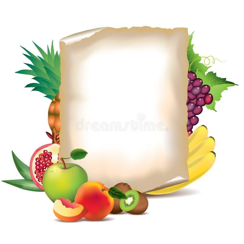 Плодоовощи и лист бумаги иллюстрация штока