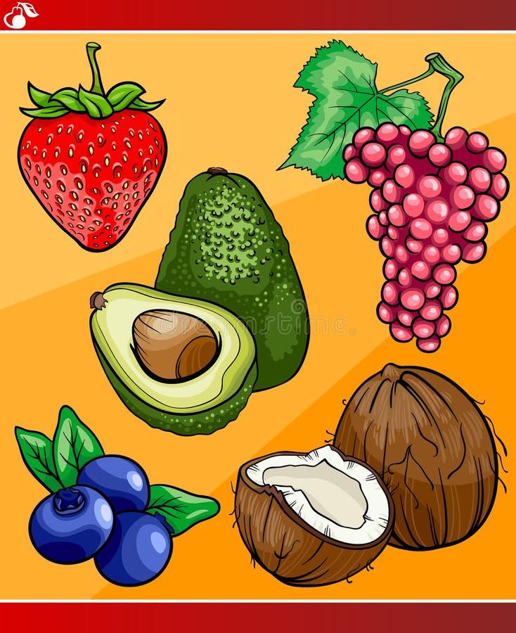 Плодоовощи установили иллюстрацию шаржа бесплатная иллюстрация