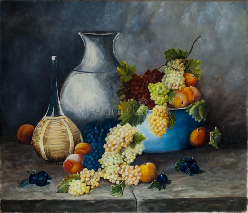 Плодоовощ и вино картины маслом стоковая фотография rf