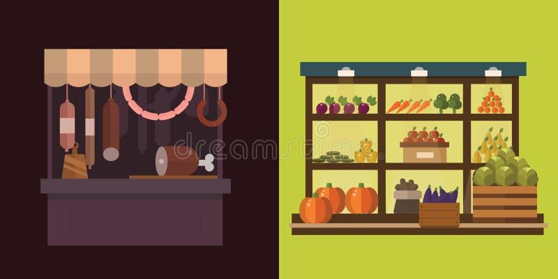 Плодоовощ, овощи, молочные продукты, мясо, комплект вектора стойла магазина хлебопекарни иллюстрация штока