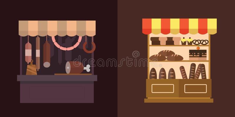 Плодоовощ, овощи, молочные продукты, мясо, комплект вектора стойла магазина хлебопекарни бесплатная иллюстрация