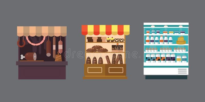 Плодоовощ, овощи, молочные продукты, мясо, комплект вектора стойла магазина хлебопекарни иллюстрация вектора