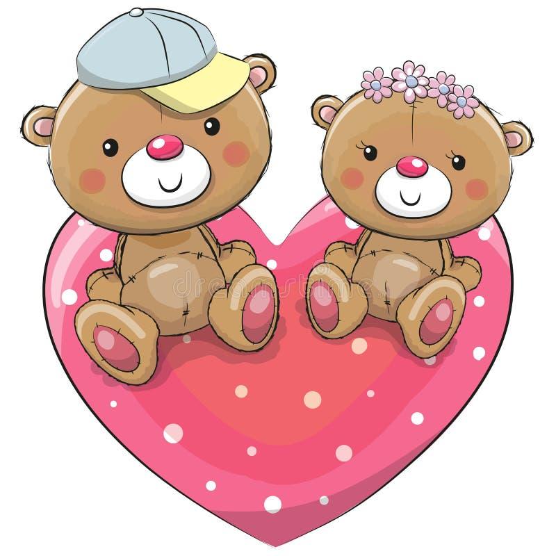 2 плюшевого медвежонка на сердце иллюстрация вектора
