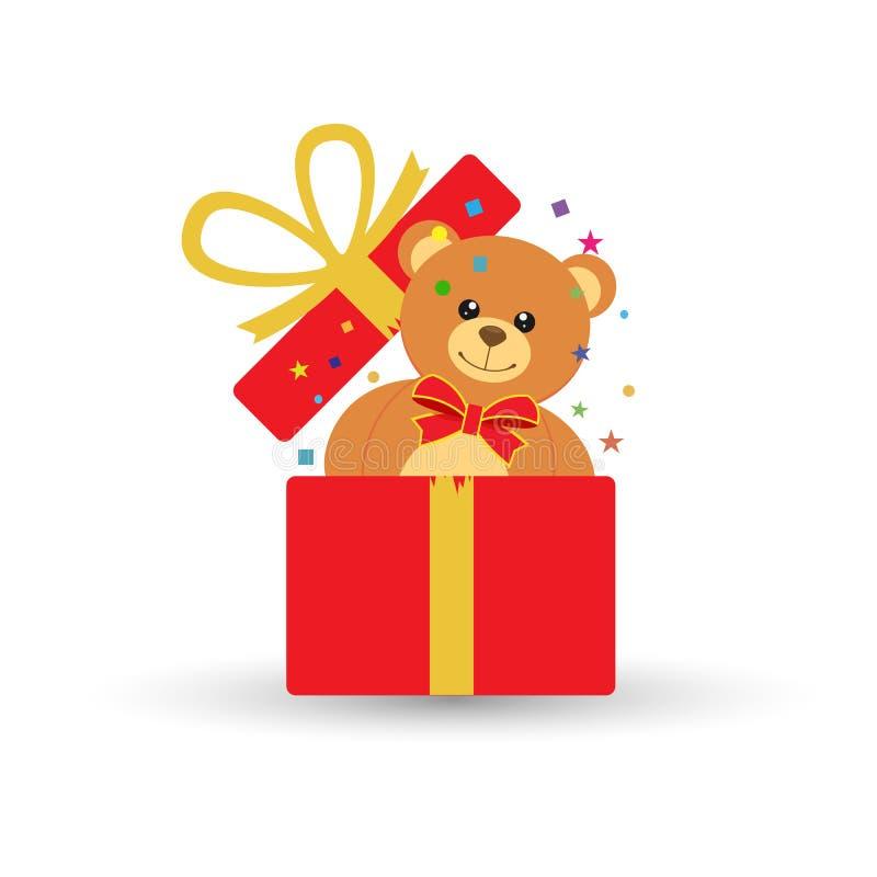 Плюшевый медвежонок внутри подарочной коробки бесплатная иллюстрация