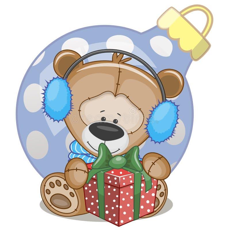 Плюшевый медвежонок в наушниках меха иллюстрация штока