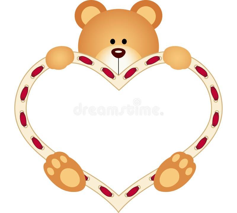 Плюшевый медвежонок держа пустое сердце иллюстрация штока