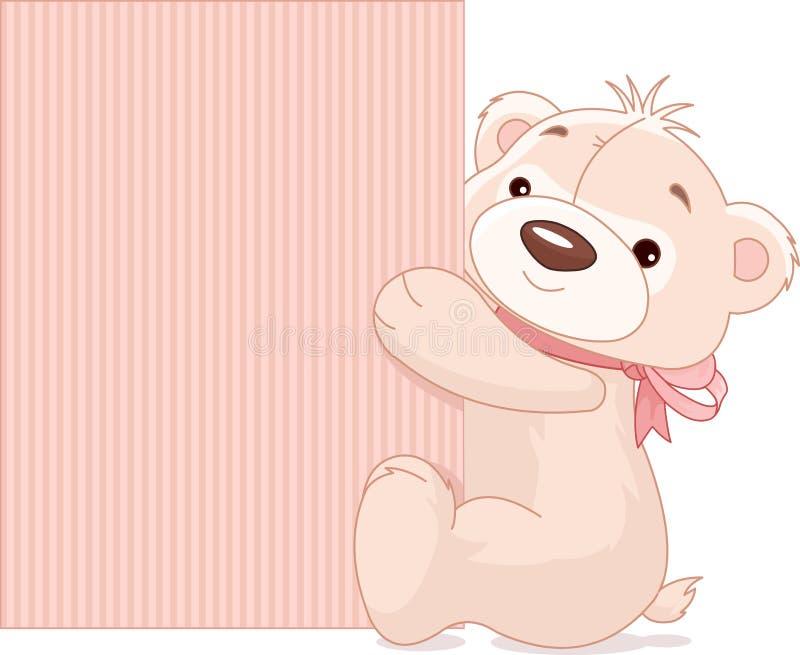 Плюшевый медвежонок держит знак иллюстрация штока