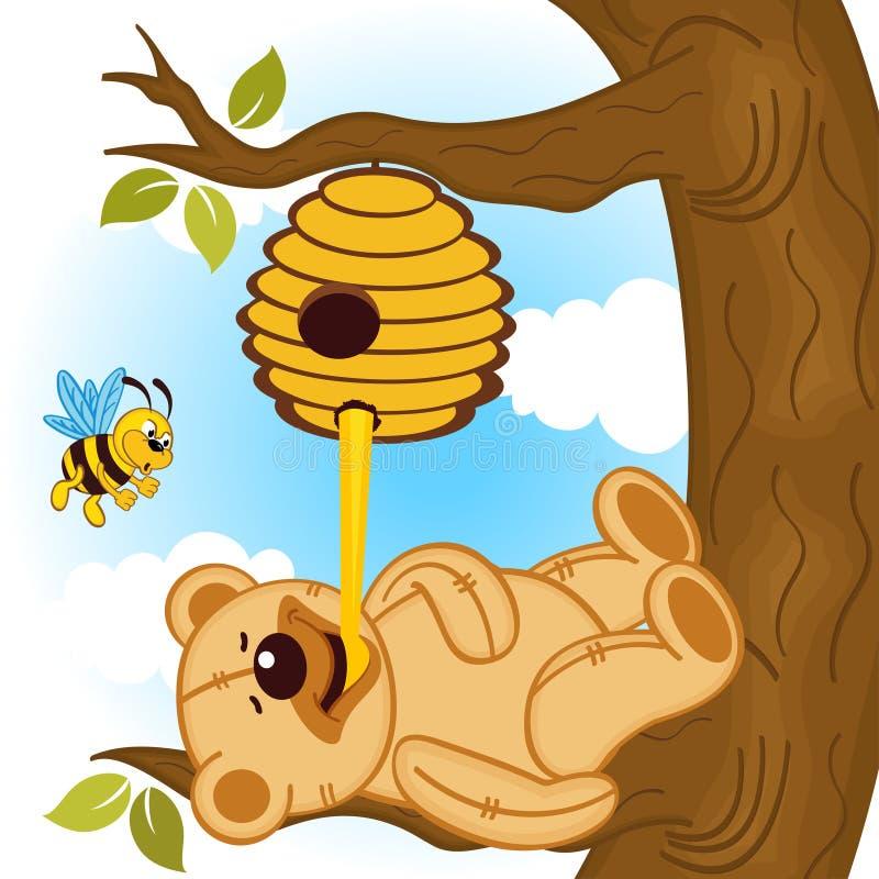 Плюшевый медвежонок ест пчелу меда иллюстрация вектора