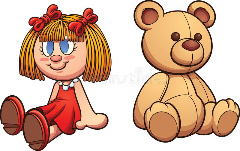 Плюшевый медвежонок и кукла иллюстрация штока
