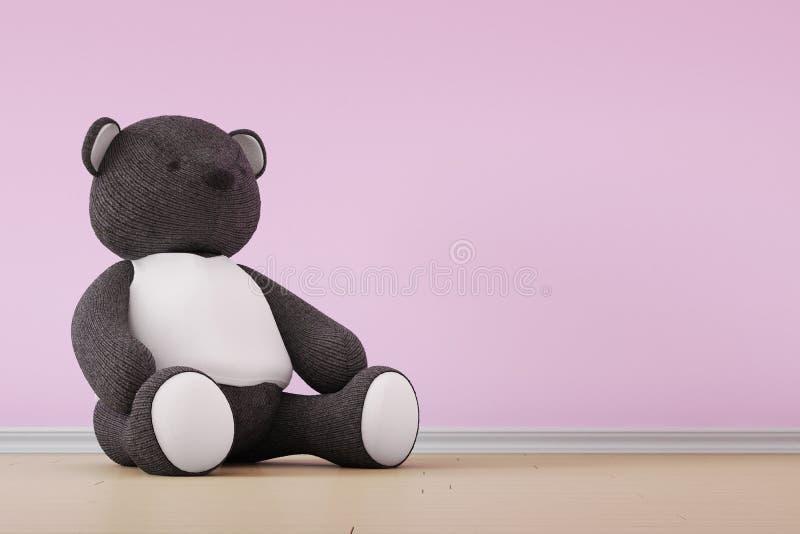 Плюшевый медвежонок на стене иллюстрация вектора