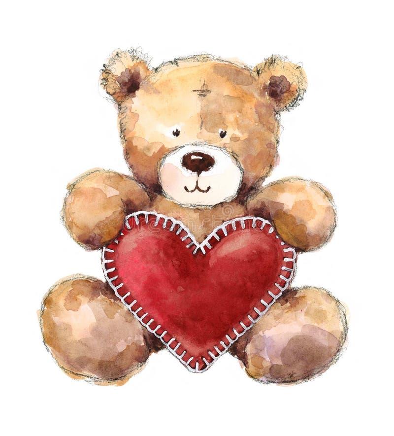 Плюшевый медвежонок дня валентинок держа большое сердце иллюстрация штока