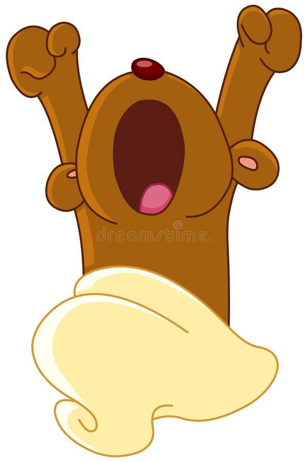 Плюшевый медвежонок просыпая вверх иллюстрация штока