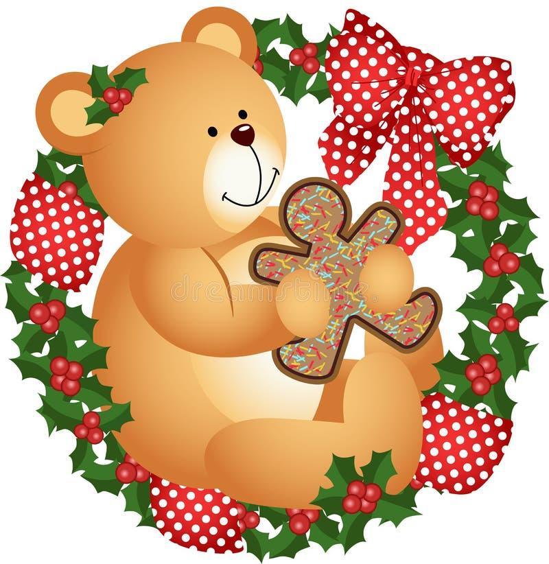 Плюшевый медвежонок рождества с печеньем в кроне иллюстрация штока