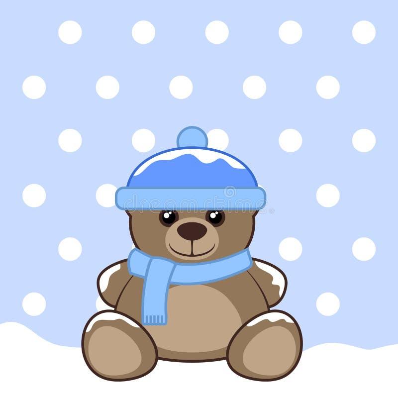 Плюшевый медвежонок снега иллюстрация штока