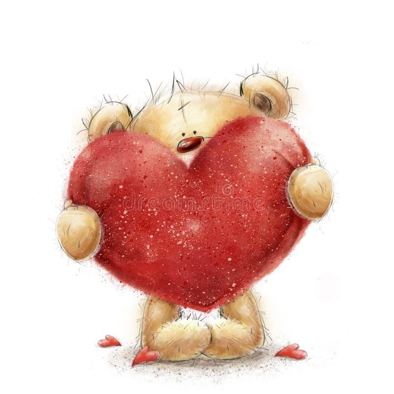 Плюшевый медвежонок с большим красным сердцем Поздравительная открытка Валентайн Дизайн влюбленности Любовь бесплатная иллюстрация