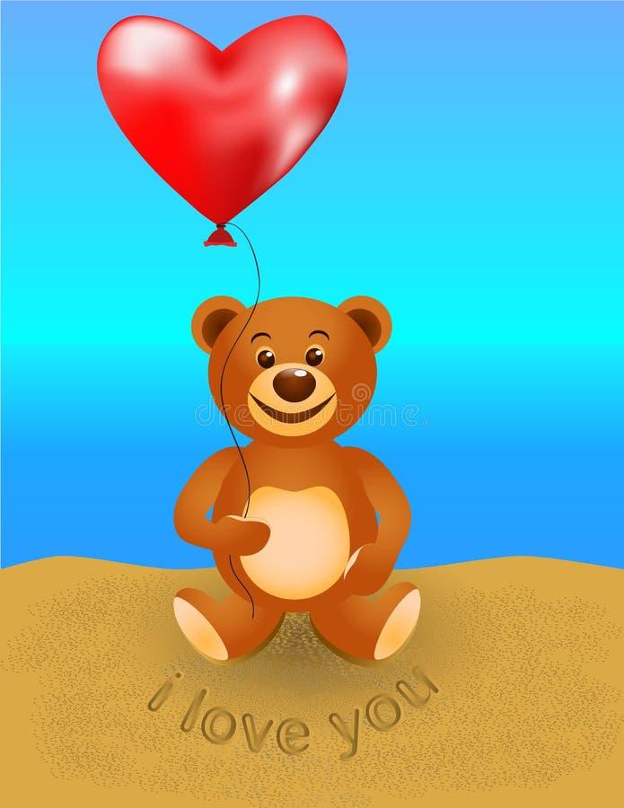 Плюшевый медвежонок с воздушным шаром стоковое изображение rf