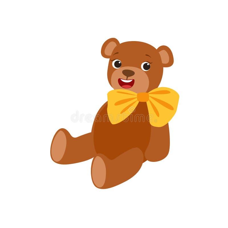 Плюшевый медвежонок с желтым смычком ягнится характер шаржа объекта вечеринки по случаю дня рождения счастливый усмехаясь одушевл бесплатная иллюстрация