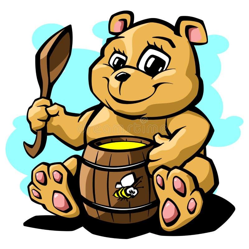 Плюшевый медвежонок с иллюстрацией вектора меда бесплатная иллюстрация