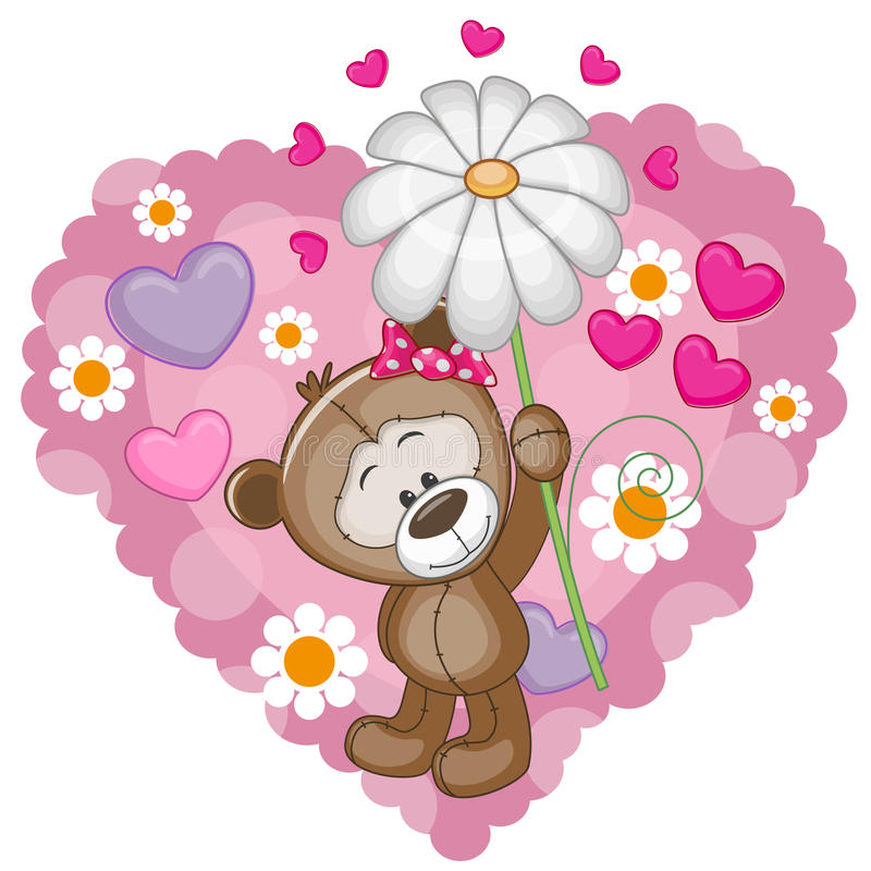 Плюшевый медвежонок с сердцами и цветком иллюстрация вектора