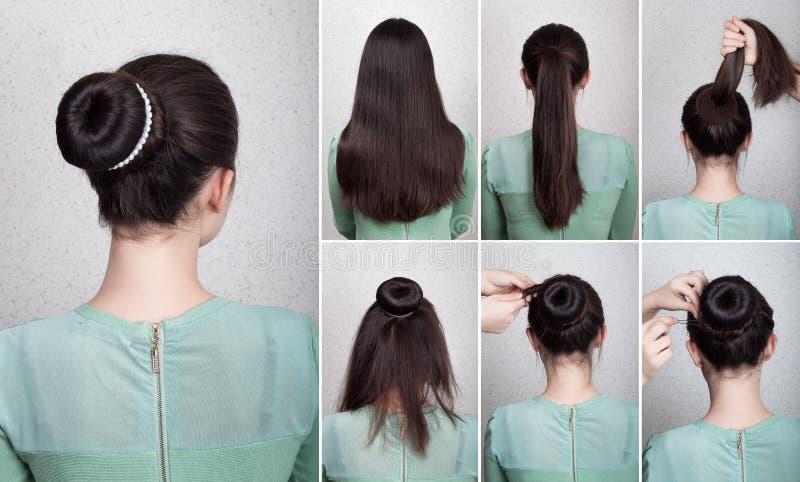 Плюшка стиля причёсок консультационная элегантная с chignon стоковые фото
