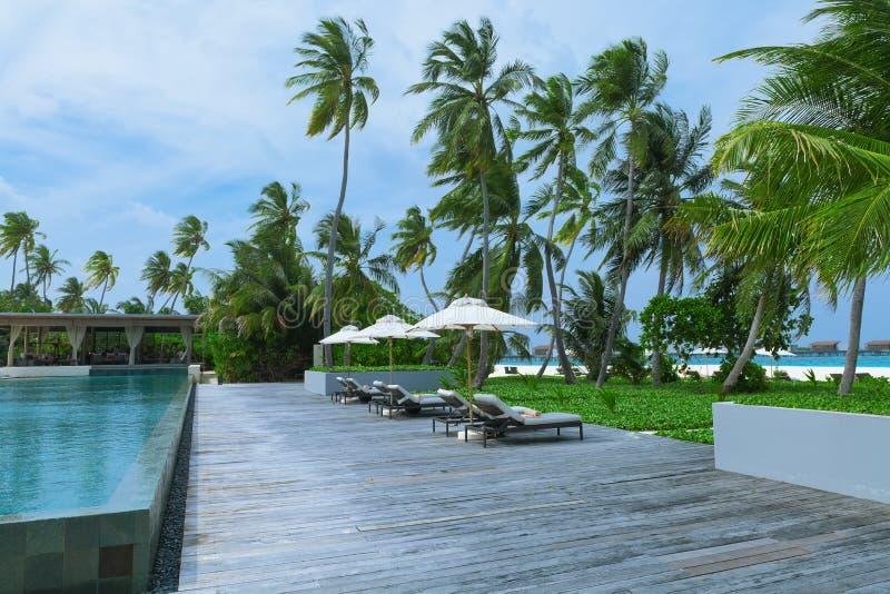 Пляжные комплексы бассейнов, остров Мальдивов стоковые изображения