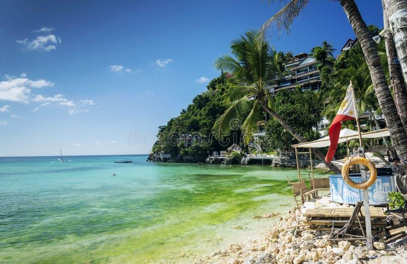 Пляжные комплексы Diniwid в известном philippi острова boracay тропическом стоковые изображения rf