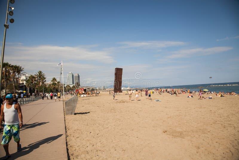 Пляж Барселоны Barceloneta стоковые изображения rf