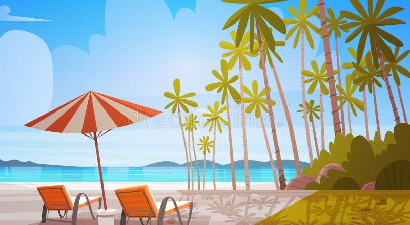 Пляж берега моря с концепцией летних каникулов ландшафта взморья шезлонгов красивой иллюстрация штока