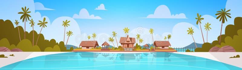 Пляж берега моря с концепцией летних каникулов ландшафта взморья гостиницы виллы красивой иллюстрация штока