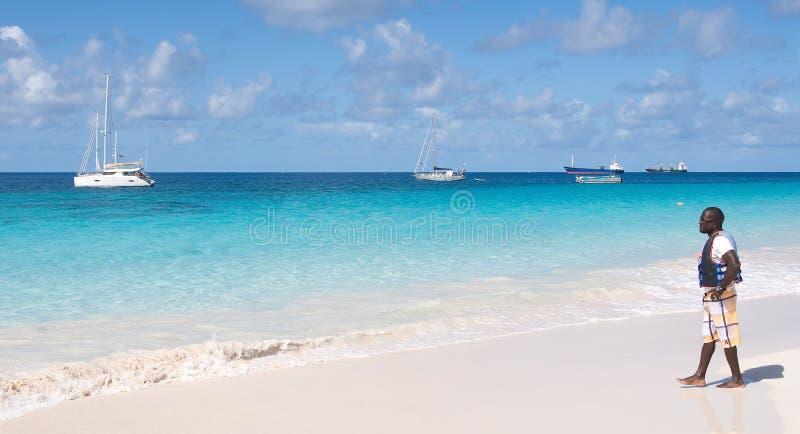 Пляж Бриджтауна, Барбадос - Brownes - залив Карлайла стоковая фотография rf