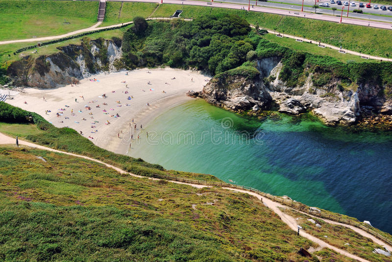 Пляж в Ла Coruna, Испании стоковое изображение
