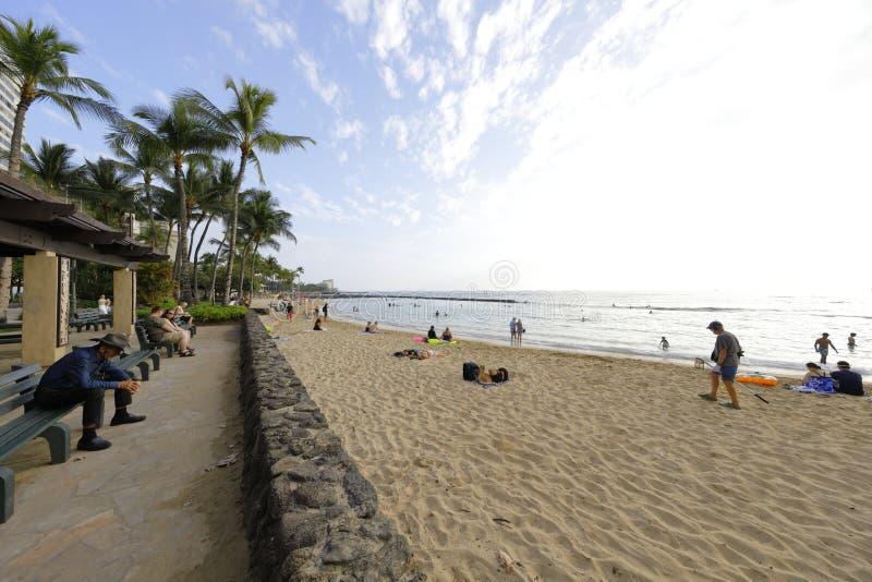 Пляж Гонолулу Гавайские островы Waikiki стоковое изображение rf