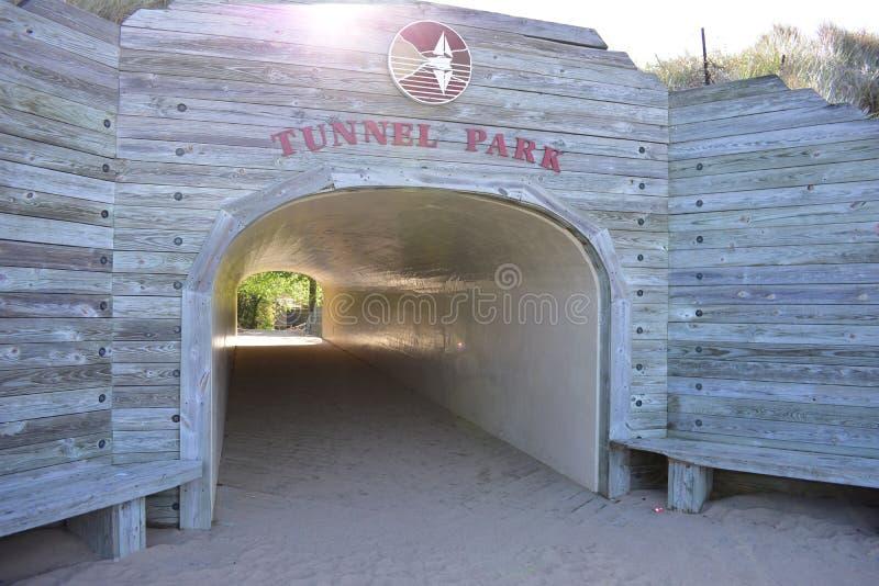 Пляж Голландия песка парка тоннеля стоковое фото rf