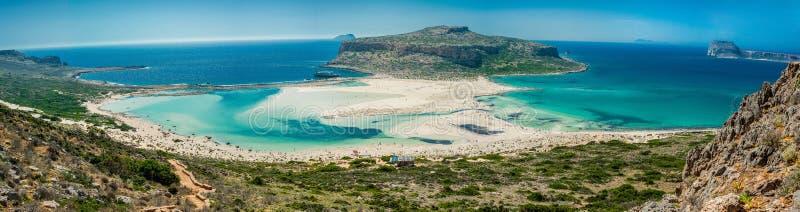 Пляж Греции, Крита Balos Панорама от высокой точки холма стоковые изображения rf