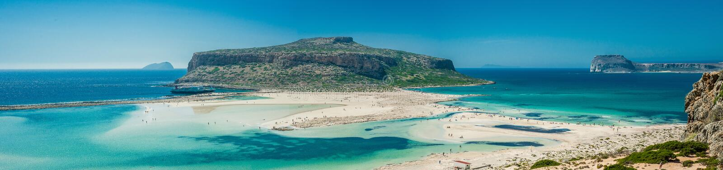 Пляж Греции, Крита Balos Панорама от высокой точки холма стоковое изображение